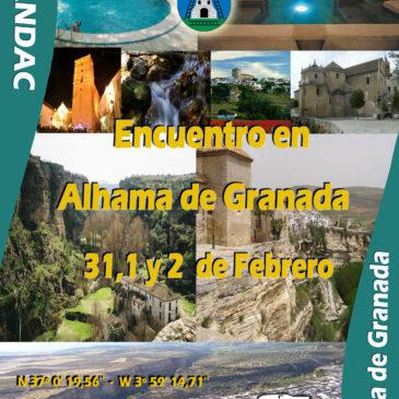 Encuentro en Alhama de Granada 31,1  y 2 Febrero del 2014. Inauguración de nueva Área de Autocaravanas y Fiesta del Vino y La Candelaria