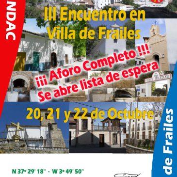 III Encuentro de Autocaravanas Villa de Frailes 20, 21 Y 22 DE OCTUBRE 2017